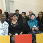 Genomineerde Rahma Hulsman (met blauwe hoofddoek) en haar achterban van IS Salaam